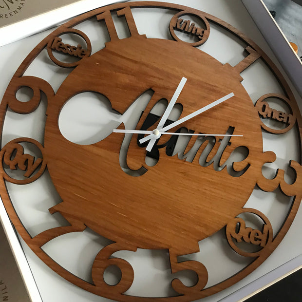 Ava Number Cut Clock - Wood