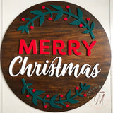 Merry Christmas Round Wood Sign