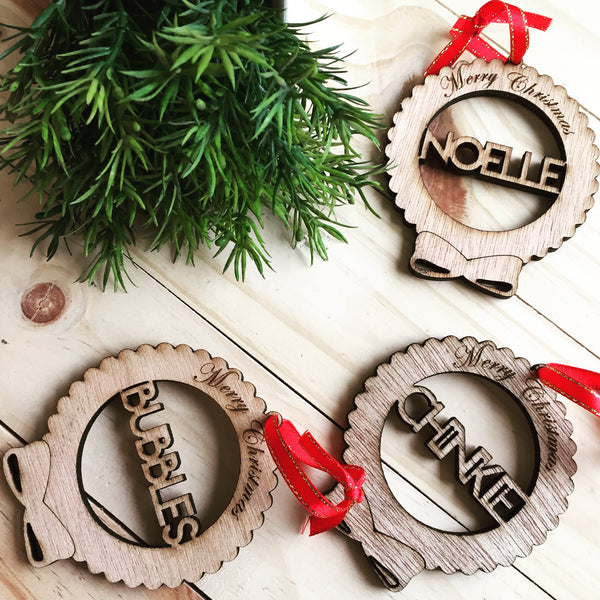 Wooden Name Ornaments - Ribbon Design