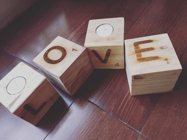 Scrabble Tea light Candle Blocks