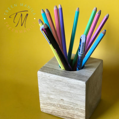 Wooden Cube Pen Holder