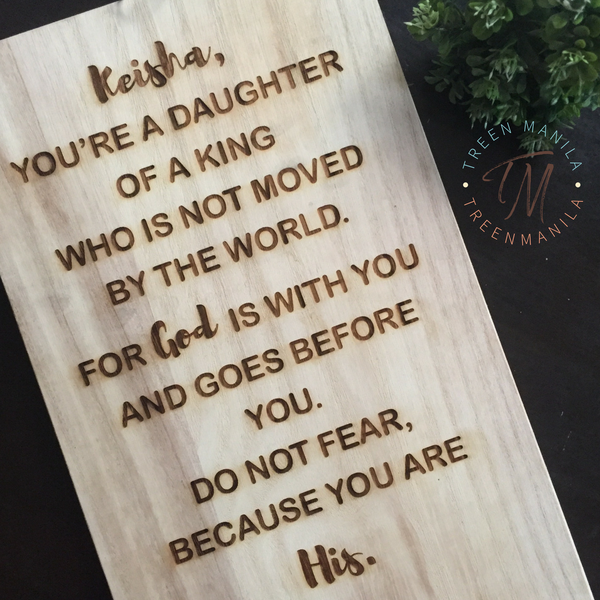 "Personalized ""Daughter/Son of a King"" - Large Board"