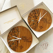 Eve Floral Clock - Wood