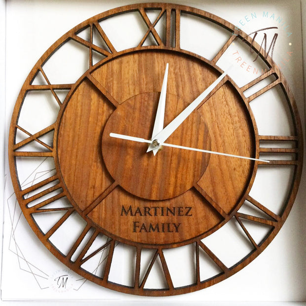 Roman Numeral Clock - Double layer Wood