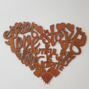 Love Story Quote - Heart Wall Decor