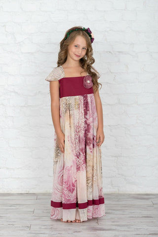 Regally Woven Floral Girls' Dress