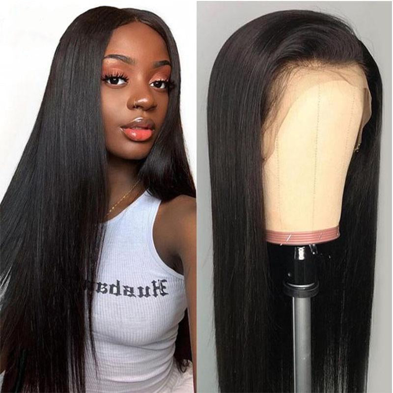 10a+ 150 Density Virgin Hair 13*4 Lace Frontal Wigs Silky straight 100% Human Hair