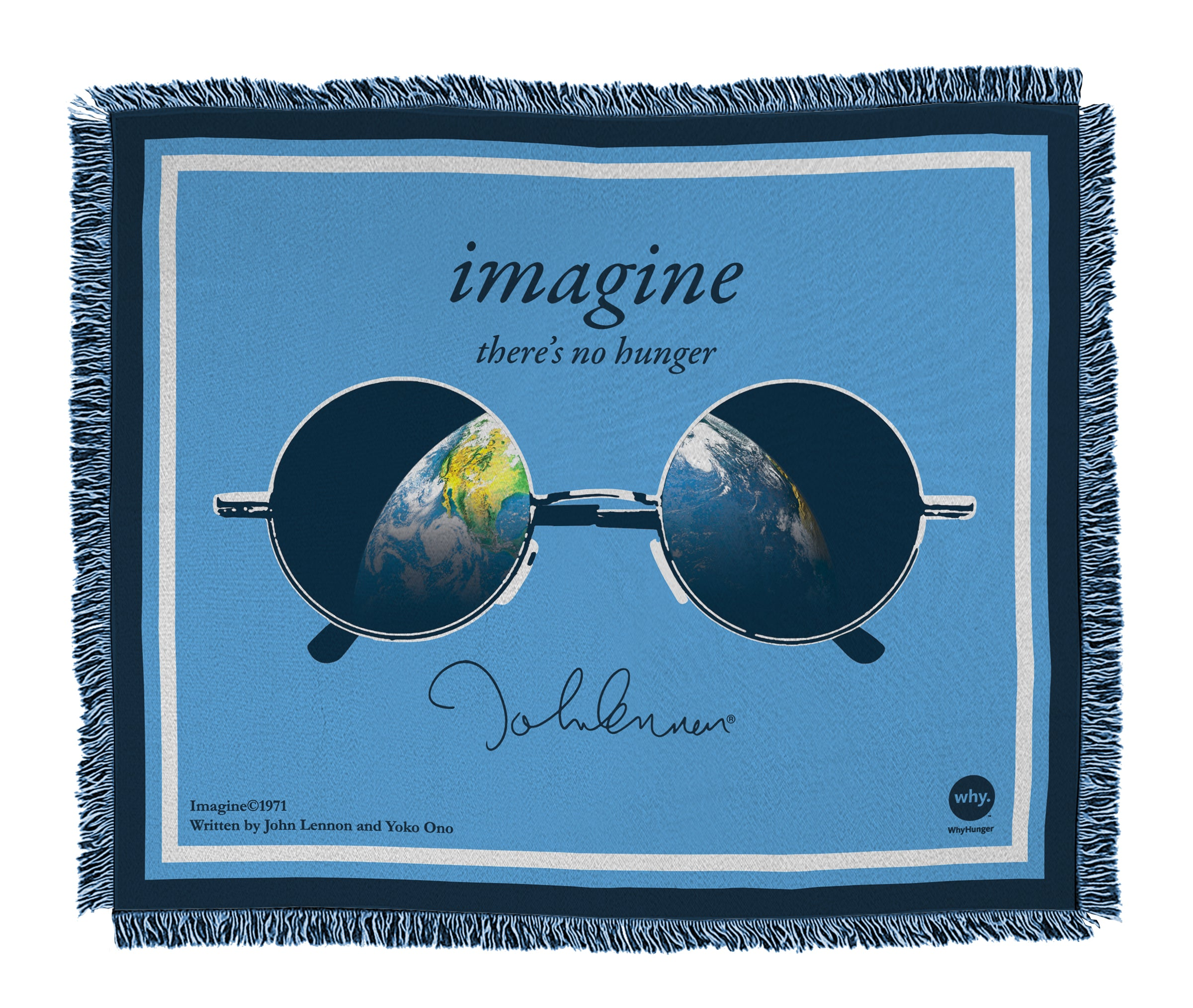 "John Lennon ""Imagine There's No Hunger"" Knit Blanket"
