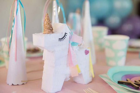 unicorn pinata, pinata favor, unicorn party, unicorn horn party hat, rainbow plates, rainbow party