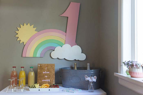 first birthday sign, 1st birthday sign, rainbow birthday sign, rainbow and cloud sign, drink table, i believe in mimosas
