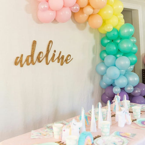 balloon garland, rainbow party, unicorn party, unicorn tableware, rainbow tableware, wooden name sign