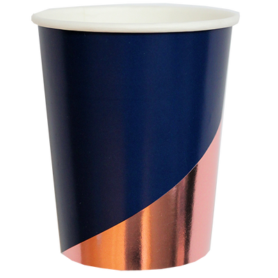 "Navy and Rose Gold ""Erika"" Cups"