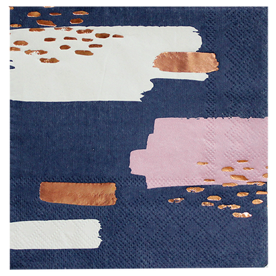 "Navy, Blush, and Rose Gold ""Erika"" Napkins - Small"