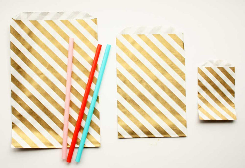 Gold Stripe Favor Bags - Large