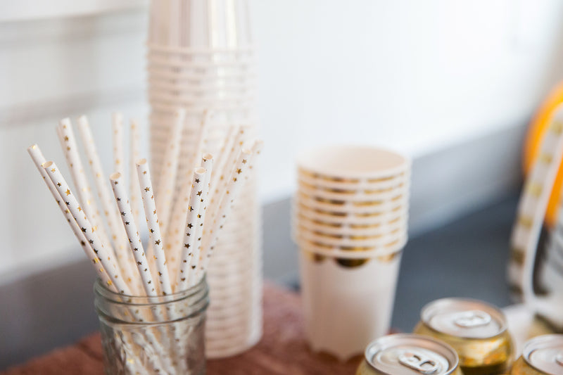 Gold Foil Star Straws