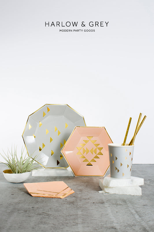 "Blush and Gold ""Wander"" Plates - Small"