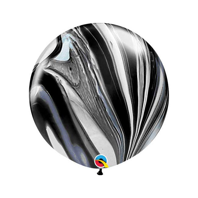 Black and White Marble Balloon - Jumbo 30""
