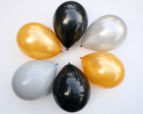 Silver, Grey, Gold, and Black Latex Balloon Set - 11""