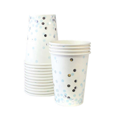 Light Blue and Silver Confetti Cups