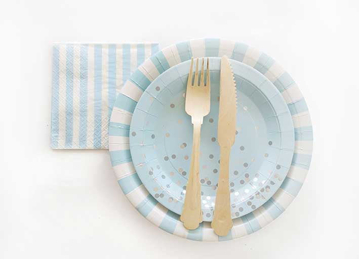 Light Blue and White Striped Plates