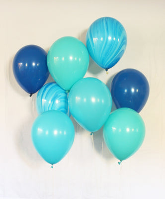 Turquoise and True Blue Latex Balloon Set - 11""