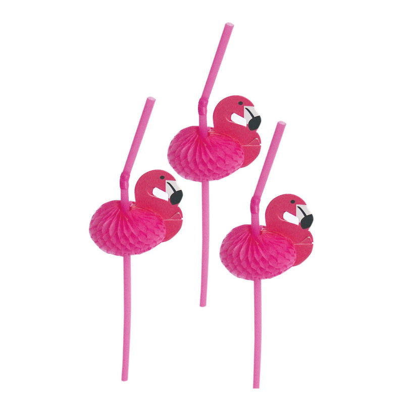 Honeycomb Flamingo Straws
