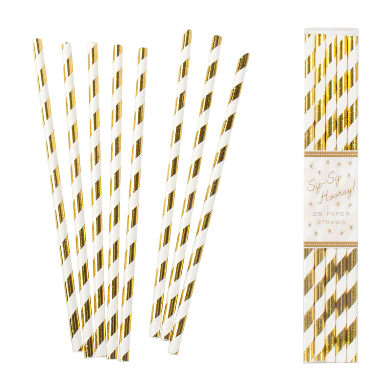 Gold Foil Striped Straws