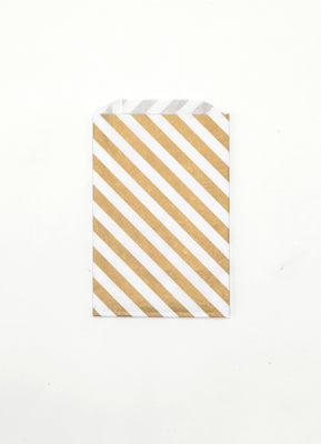 Gold Stripe Favor Bags - Medium