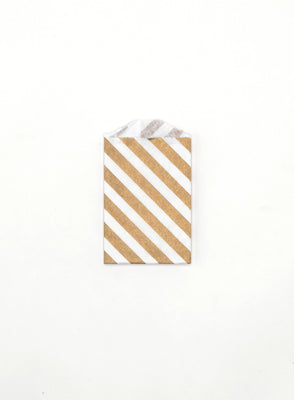Gold Stripe Favor Bags - Small