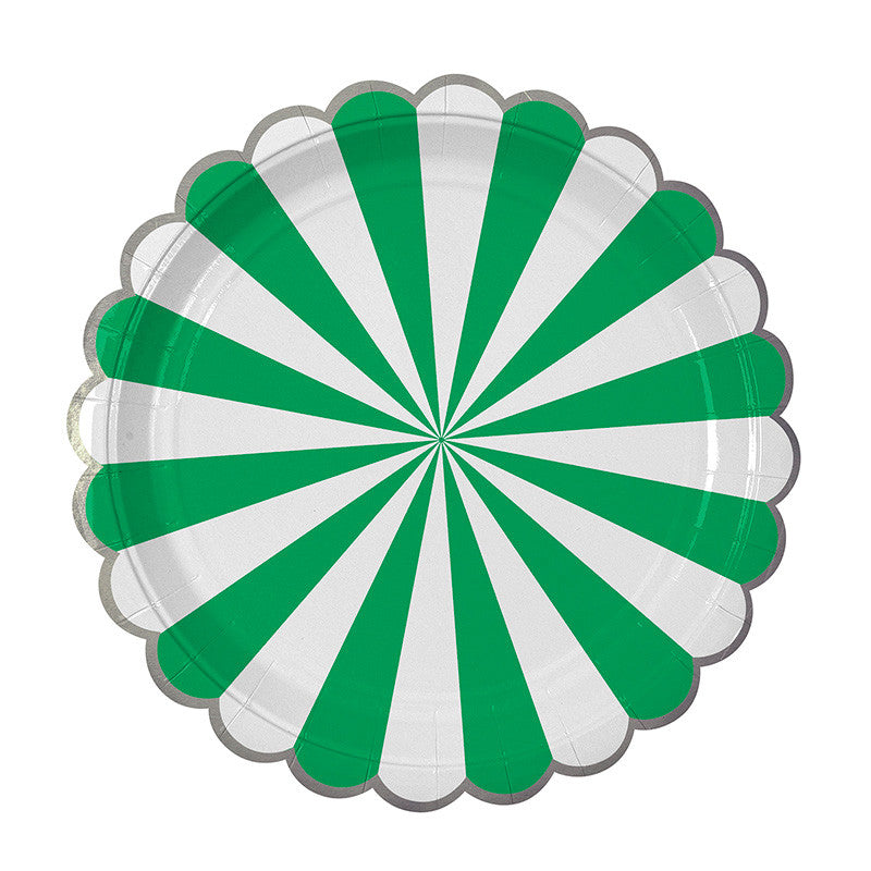 Green and White Striped Plates