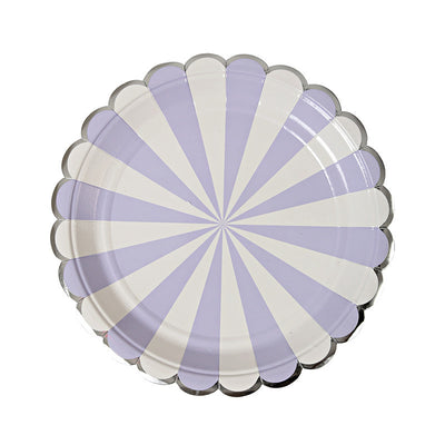 Lavender, White, and Silver Plates - Small