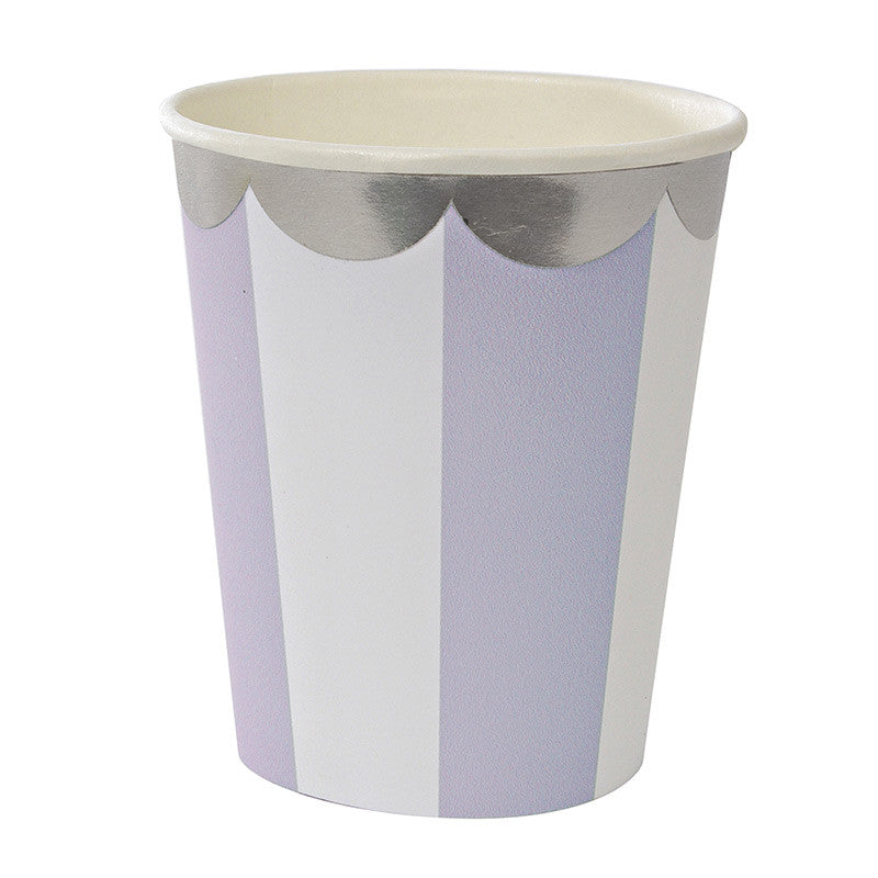 Lavender, White and Silver Scallop Party Cups