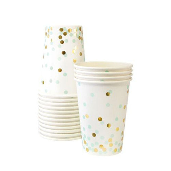 Mint Green and Gold Confetti Cups