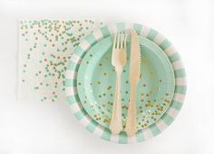 Mint Green and White Striped Plates