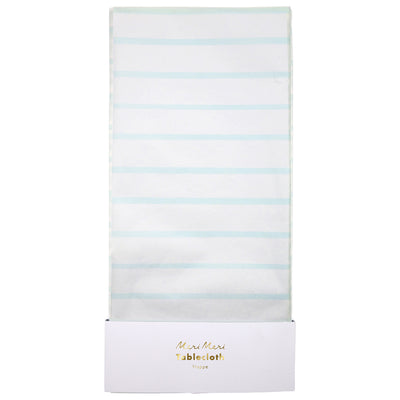 Mint and White Striped Paper Tablecloth
