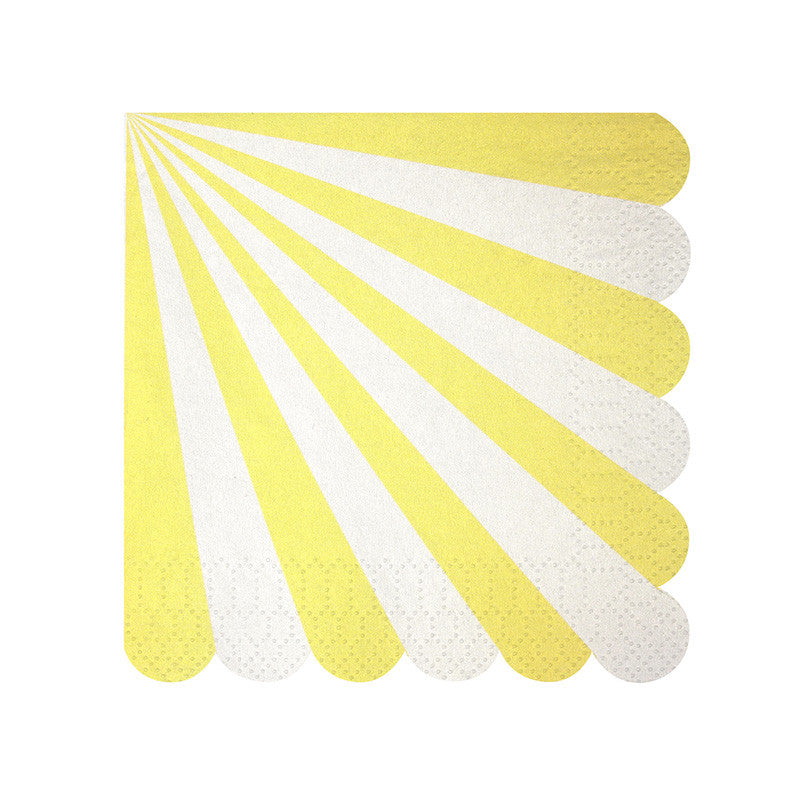 Yellow and White Striped Napkins - Small