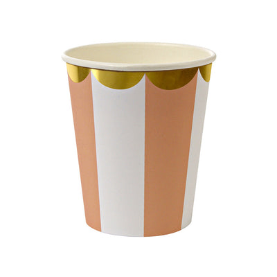 Orange, White, and Gold Scallop Party Cups