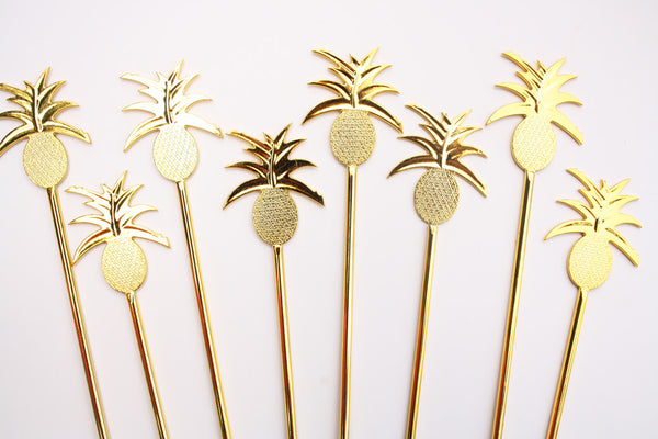 Gold Pineapple Swizzle Sticks