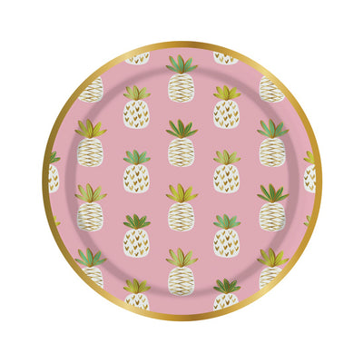 Pink Pineapple Print Paper Plates - Small