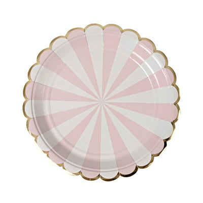 Light Pink, White, and Gold Striped Plates - Small