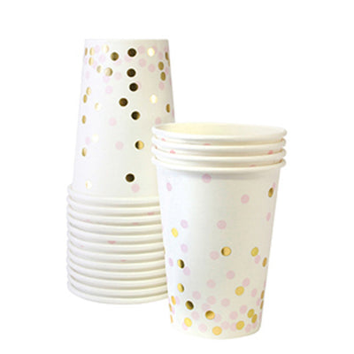 Pink and Gold Confetti Cups