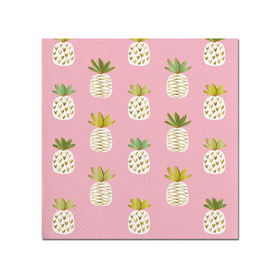 Pink Pineapple Napkins - Small