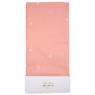 Pink Stars Paper Tablecloth