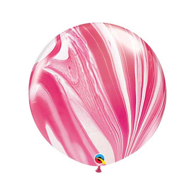 Red and White Marble Balloon - Jumbo 30""