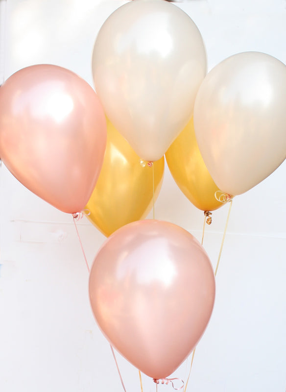 Rose gold, Gold, and Peach Latex Balloon Set - 11""