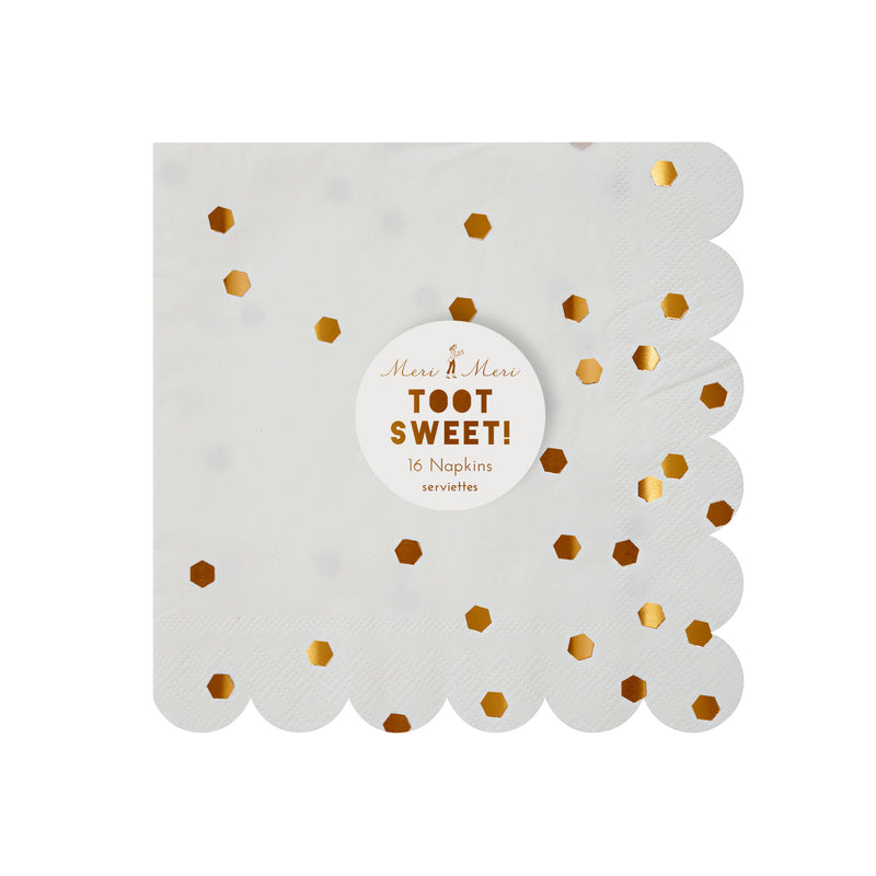Rose Gold Confetti Napkins - Small