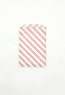 Rose Gold Stripe Favor Bags - Medium