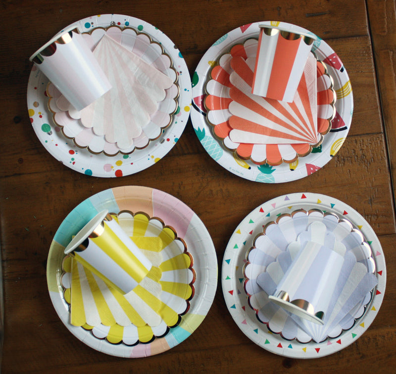 Orange and White Striped Napkins - Small