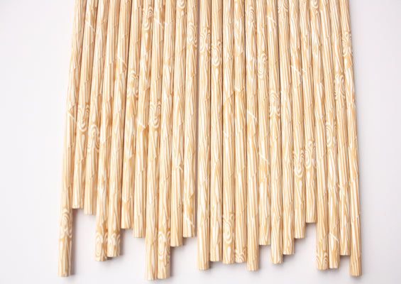 Wood Grain Straws