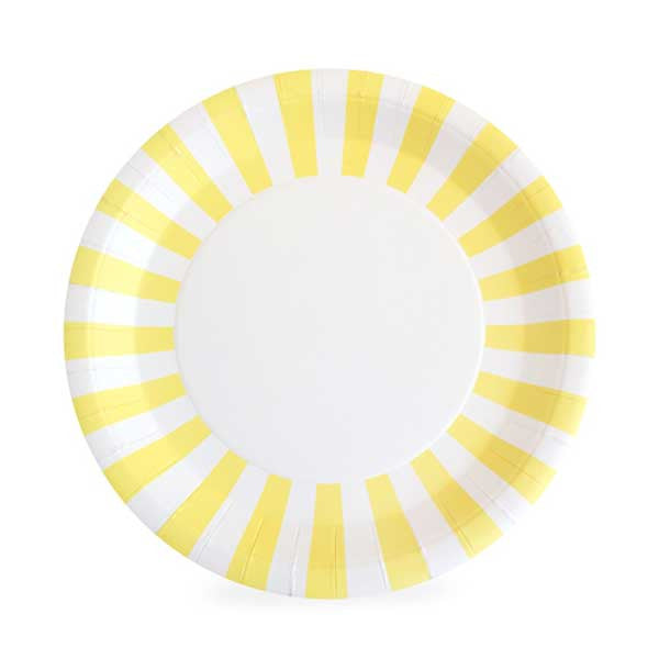 Yellow and White Striped Plates
